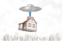 representación 3d de la casa blanca que lleva del UFO del metal plateado con el tejado rojo en el fondo blanco imagenes de archivo