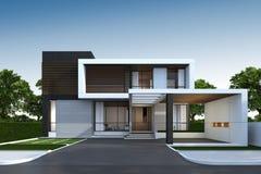 representación 3D de la casa exterior con la trayectoria de recortes Fotografía de archivo libre de regalías