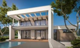representación 3D de la casa moderna Foto de archivo libre de regalías