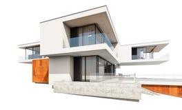 representación 3d de la casa moderna aislada en blanco foto de archivo