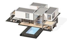 representación 3d de la casa moderna aislada en blanco fotos de archivo