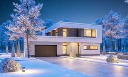 representación 3d de la casa moderna del invierno en la noche Foto de archivo libre de regalías