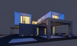 representación 3d de la casa moderna por la tarde aislada en gris ilustración del vector