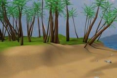 representación 3D de la escena de la playa ilustración del vector