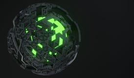 representación 3D de la esfera con Shell quebrado Imágenes de archivo libres de regalías