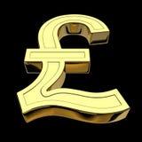 representación 3D de la libra británica o de la lira del símbolo de moneda, de oro, aislada en fondo negro stock de ilustración