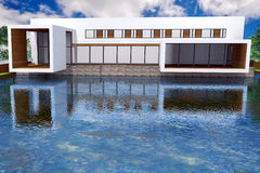 representación 3D de la mansión moderna Foto de archivo libre de regalías
