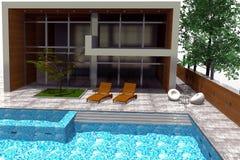 representación 3D de la mansión moderna Foto de archivo