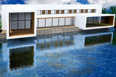 representación 3D de la mansión moderna Fotografía de archivo