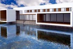 representación 3D de la mansión moderna Imágenes de archivo libres de regalías