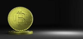 representación 3D de la moneda Bitcoin Imagen de archivo libre de regalías
