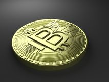 representación 3D de la moneda Bitcoin Fotografía de archivo libre de regalías