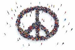 representación 3D de la paz de la gente stock de ilustración