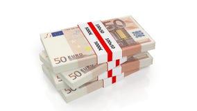 representación 3D de la pila de 50 de los euros paquetes del billete de banco Foto de archivo libre de regalías