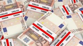 representación 3D de la pila de 50 de los euros paquetes del billete de banco Fotos de archivo libres de regalías