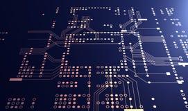 representación 3d de la placa de circuito azul futurista Fotos de archivo libres de regalías