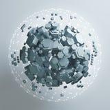 representación 3D de la prisma hexagonal blanca Fondo de la ciencia ficción Esfera abstracta en espacio vacío Imagen de archivo