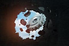 representación 3d de la rueda de engranaje de plata que rompe la pared negra foto de archivo