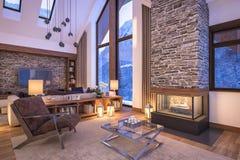representación 3D de la sala de estar de la tarde del chalet Fotografía de archivo libre de regalías