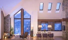 representación 3D de la sala de estar de la tarde del chalet fotografía de archivo