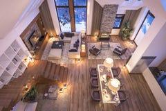 representación 3D de la sala de estar de la tarde del chalet Fotos de archivo