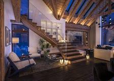 representación 3D de la sala de estar de la tarde del chalet imagen de archivo