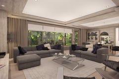 representación 3D de la sala de estar de una casa de campo Imágenes de archivo libres de regalías