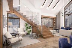representación 3D de la sala de estar del chalet imágenes de archivo libres de regalías