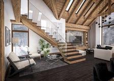 representación 3D de la sala de estar del chalet Fotografía de archivo
