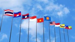 representación 3D de las banderas del ` s del país de la ANSA en el cielo stock de ilustración