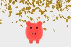 representación 3D de las monedas de oro que caen en una hucha libre illustration