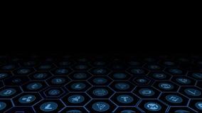 representación 3D de las monedas digitales de la moneda crypto en marco azul del hexágono que brilla intensamente libre illustration