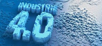representación 3d de las pequeñas cajas azules que forman la palabra alemana Industrie 4 0 símbolos - ejemplo imagen de archivo