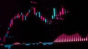 representación 3D de los índices de existencias en espacio virtual Desarrollo económico, recesión fotografía de archivo