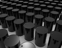 representación 3D de los barriles de aceite aislados en el fondo blanco del estudio ilustración del vector