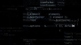representación 3D de los bloques abstractos de código situados en el espacio virtual Fotografía de archivo