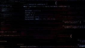 representación 3D de los bloques abstractos de código situados en el espacio virtual Imagenes de archivo