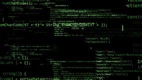 representación 3D de los bloques abstractos de código situados en el espacio virtual Fotos de archivo libres de regalías