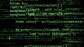 representación 3D de los bloques abstractos de código situados en el espacio virtual Fotos de archivo