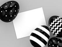 representación 3d de los huevos de Pascua con la tarjeta en blanco stock de ilustración