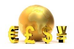 representación 3D de los símbolos de moneda globales Foto de archivo libre de regalías