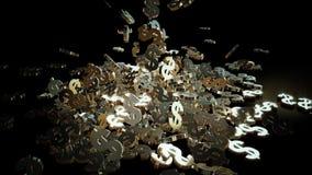 representación 3d de muestras que caen de dólares Imagen de archivo libre de regalías