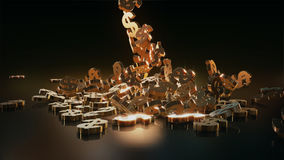 representación 3d de muestras que caen de dólares Fotos de archivo libres de regalías