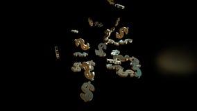 representación 3d de muestras que caen de dólares Foto de archivo