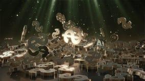 representación 3d de muestras que caen de dólares Foto de archivo libre de regalías