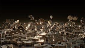 representación 3d de muestras que caen de dólares Fotografía de archivo