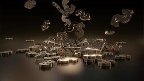 representación 3d de muestras que caen de dólares Fotos de archivo