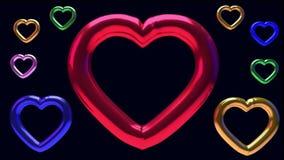 representación 3D de nueve corazones brillantes giratorios