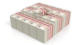 representación 3D de 50 pilas de los paquetes del billete de banco de los euros Imagen de archivo