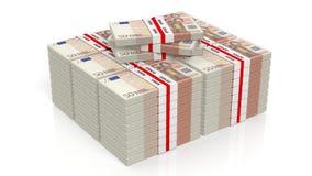 representación 3D de 50 pilas de los paquetes del billete de banco de los euros Fotos de archivo libres de regalías